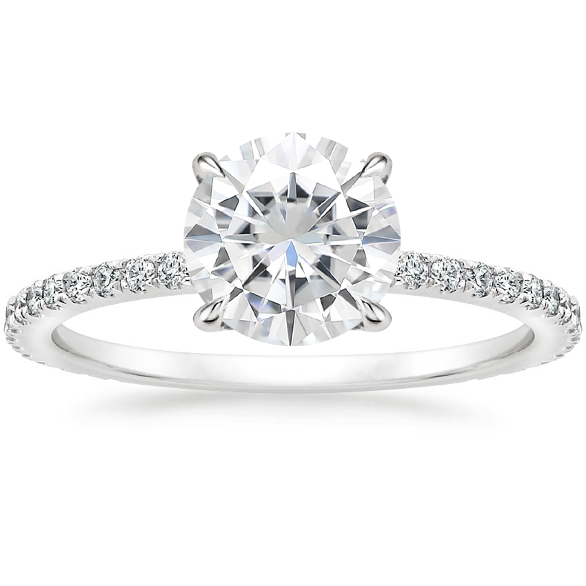 Moissanite Mixed Metal Demi Diamond Ring (1/3 ct. tw.) in 18K White Gold