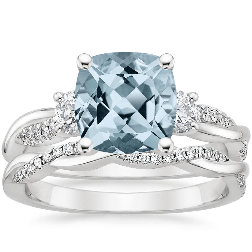 18KW Aquamarine Three Stone Petite Twisted Vine Diamond Bridal Set (1/2 ct. tw.), top view