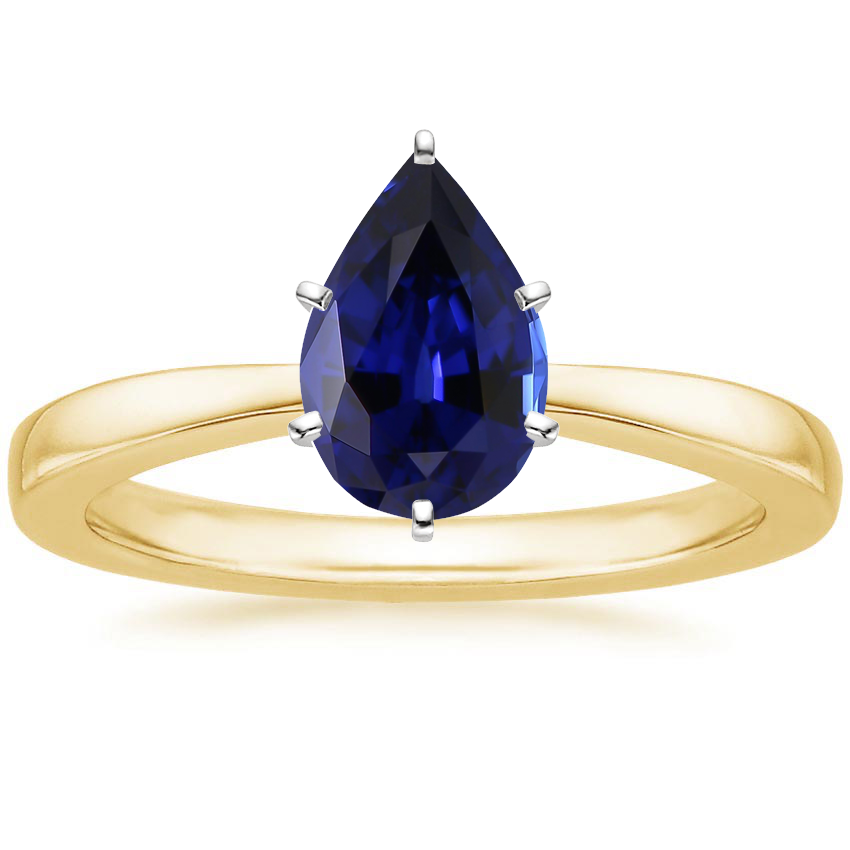 Yellow Gold Lab Created Sapphire Petite Taper Ring
