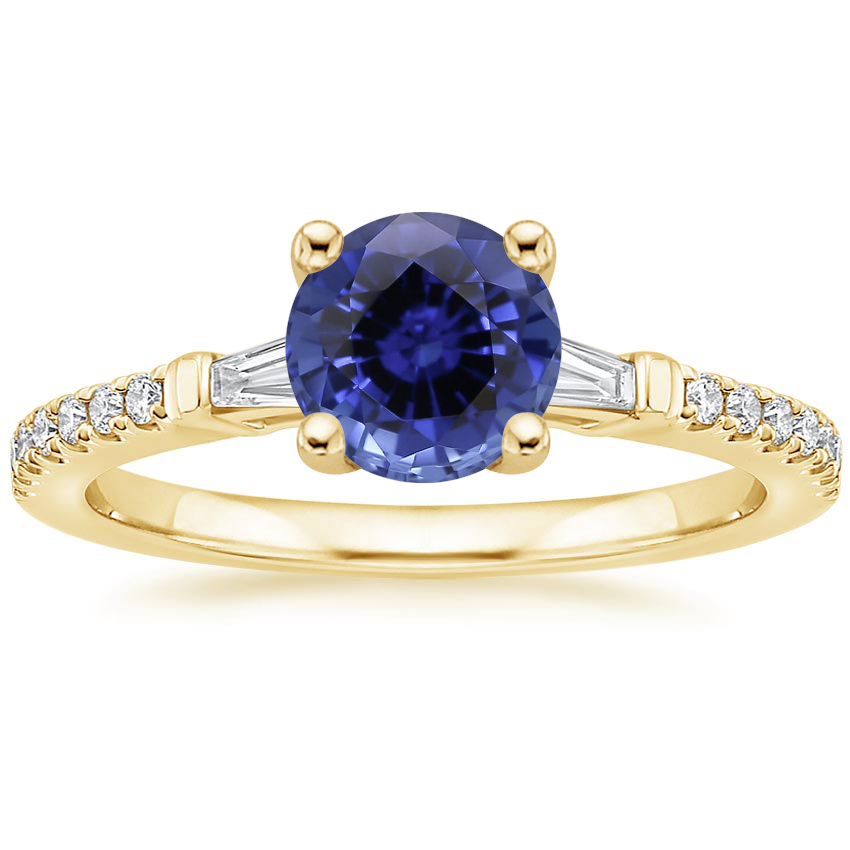Yellow Gold Sapphire Luxe Tapered Baguette Diamond Ring (1/4 ct. tw.)