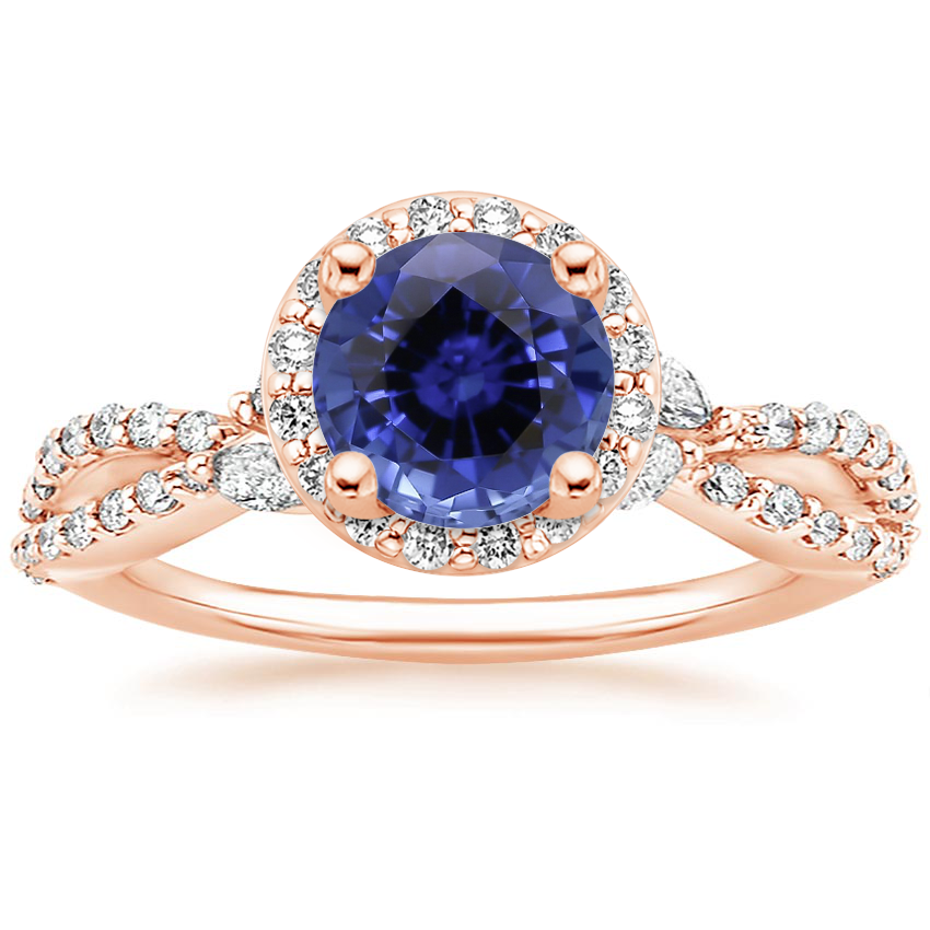 Rose Gold Sapphire Luxe Willow Halo Diamond Ring (2/5 ct. tw.)