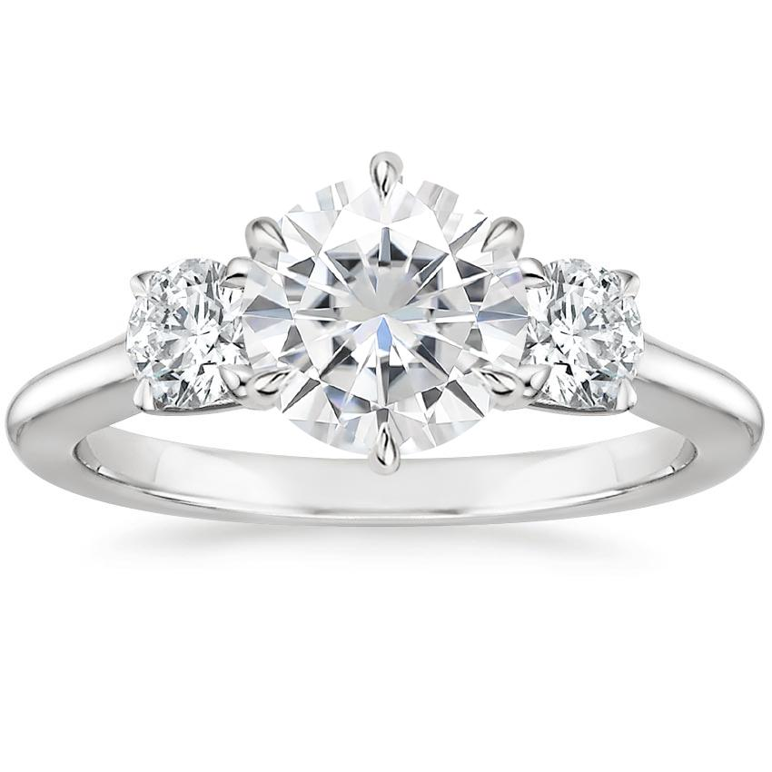 Moissanite Three Stone Catalina Diamond Ring (1/2 ct. tw.) in Platinum