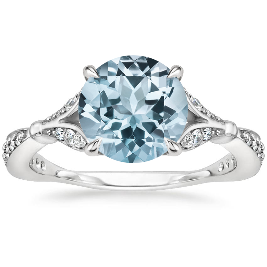Aquamarine Zinnia Diamond Ring (1/3 ct. tw.) in 18K White Gold