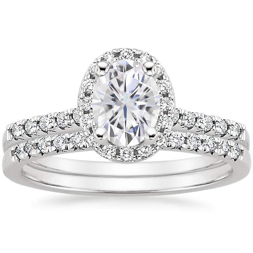 18KW Moissanite Odessa Diamond Ring (1/5 ct. tw.) with Sonora Diamond Ring (1/8 ct. tw.), top view