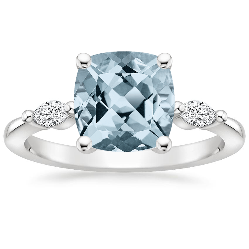 Aquamarine Gia Diamond Ring in 18K White Gold