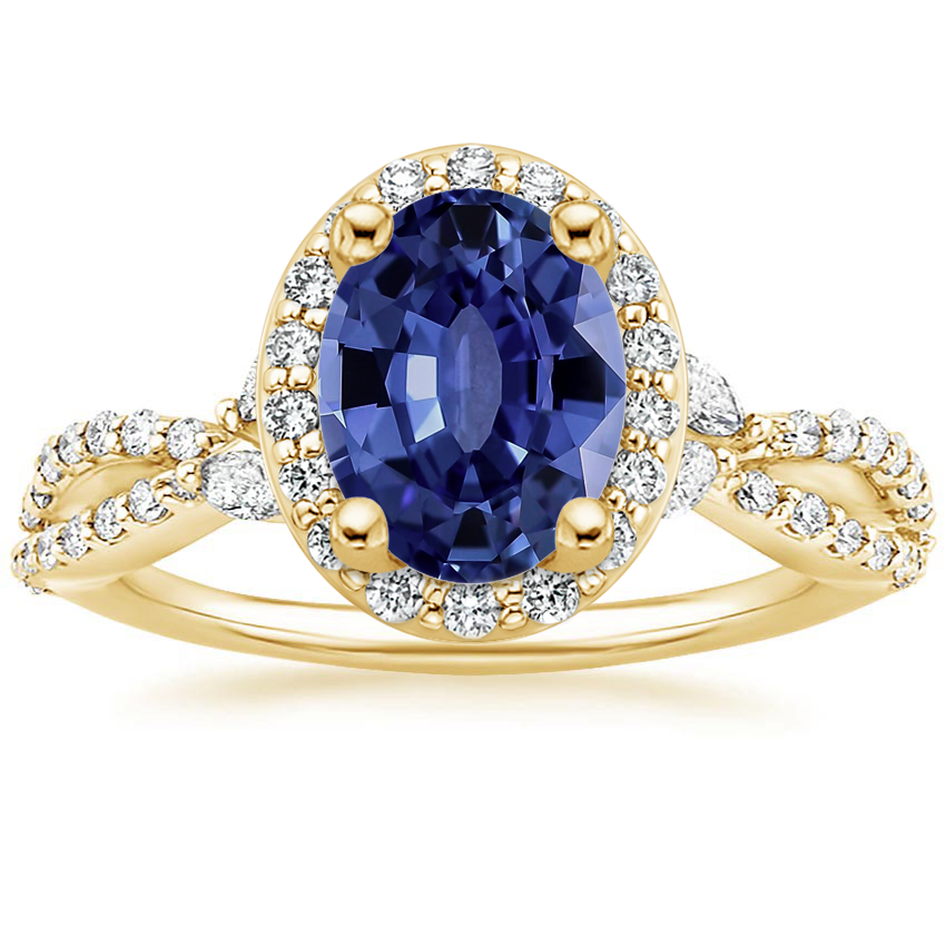 Yellow Gold Sapphire Luxe Willow Halo Diamond Ring (2/5 ct. tw.)