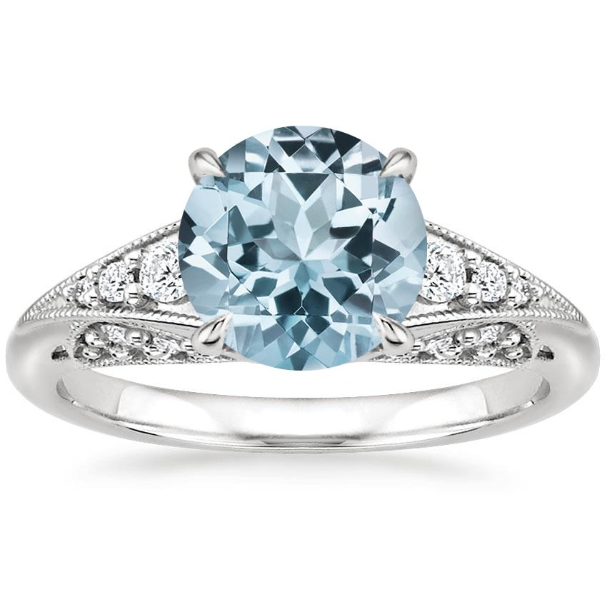 Aquamarine Serafina Diamond Ring (1/4 ct. tw.) in 18K White Gold