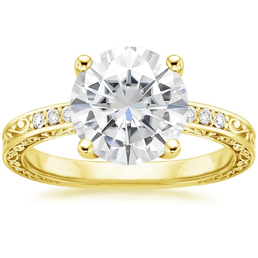 Yellow Gold Moissanite Delicate Antique Scroll Diamond Ring
