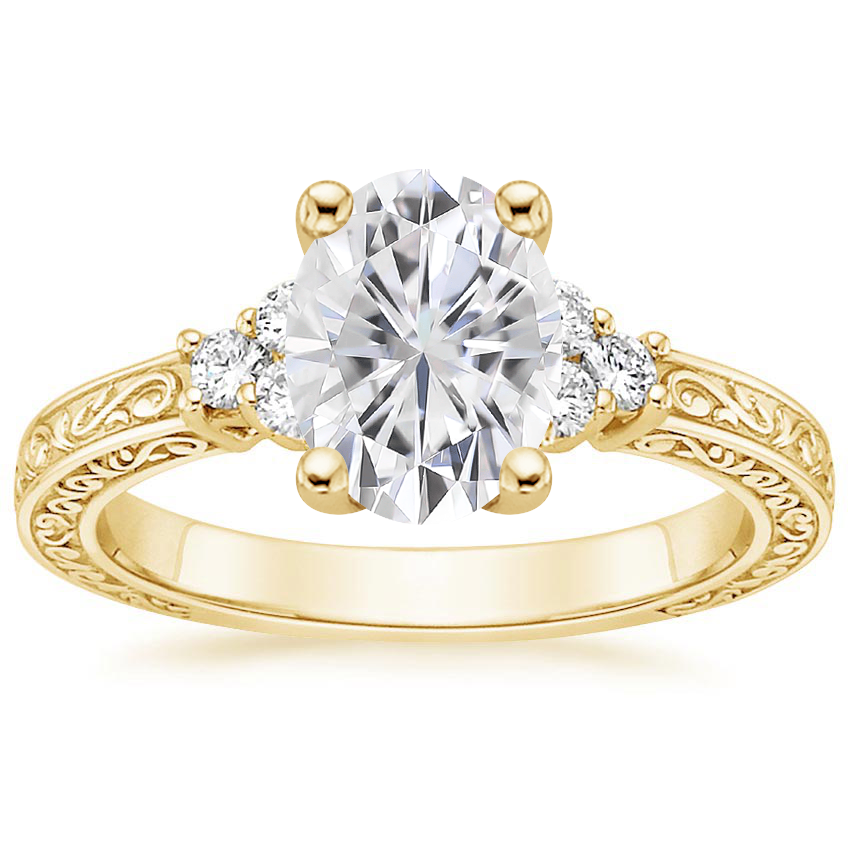 Yellow Gold Moissanite Adorned Trio Diamond Ring
