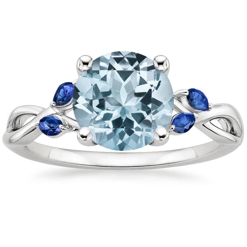 Aquamarine Willow Ring With Sapphire Accents in 18K White Gold