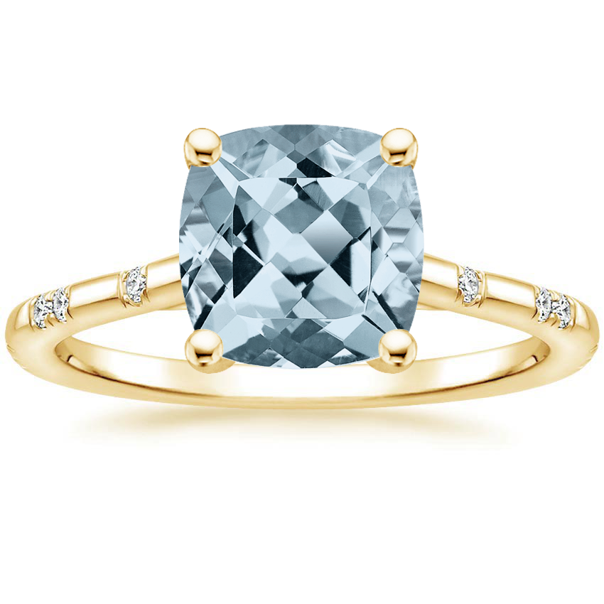 Yellow Gold Aquamarine Astra Diamond Ring