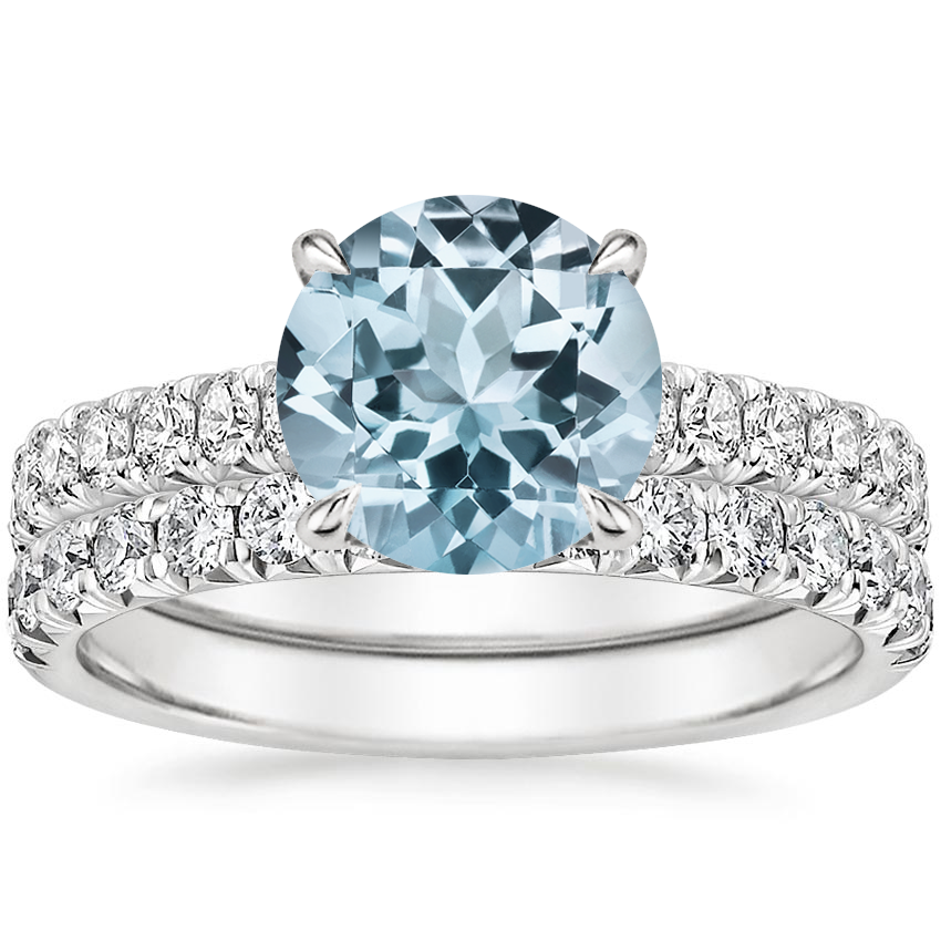 PT Aquamarine Sienna Diamond Bridal Set (7/8 ct. tw.), top view