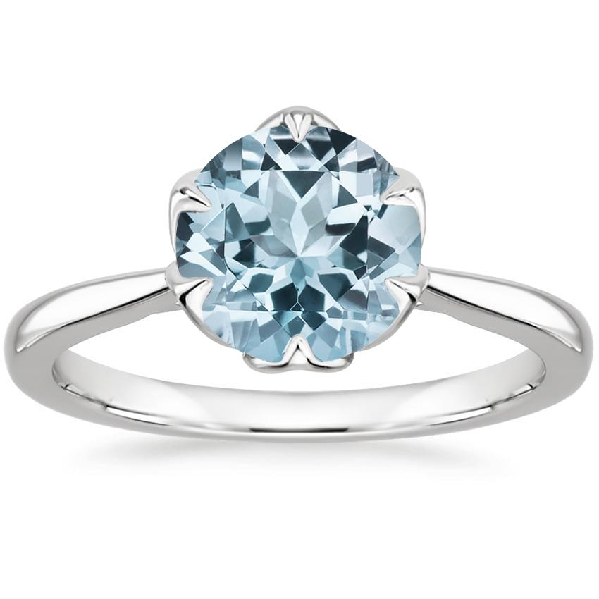 Aquamarine Caliana Ring in 18K White Gold