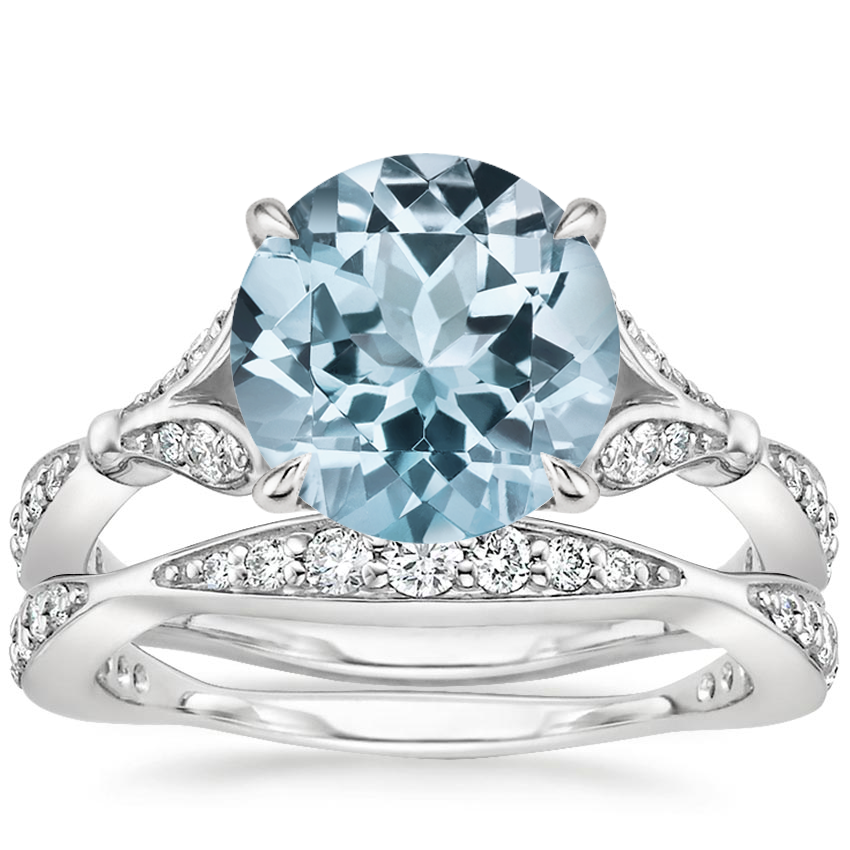 PT Aquamarine Zinnia Diamond Bridal Set (1/2 ct. tw.), top view