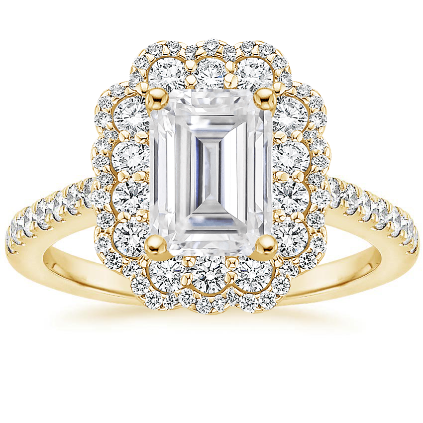 Yellow Gold Moissanite Rosa Diamond Ring