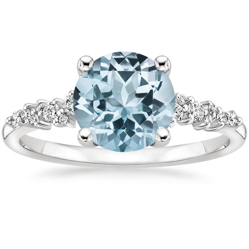 Aquamarine Aurora Diamond Ring in 18K White Gold