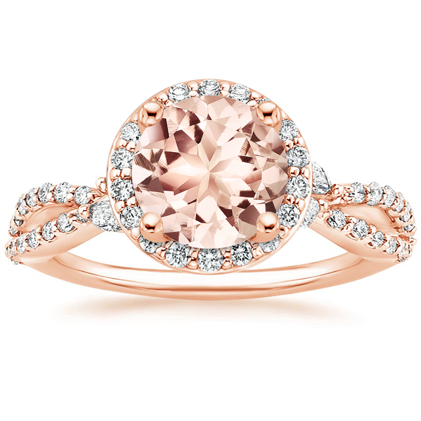 Rose Gold Morganite Luxe Willow Halo Diamond Ring (2/5 ct. tw.)
