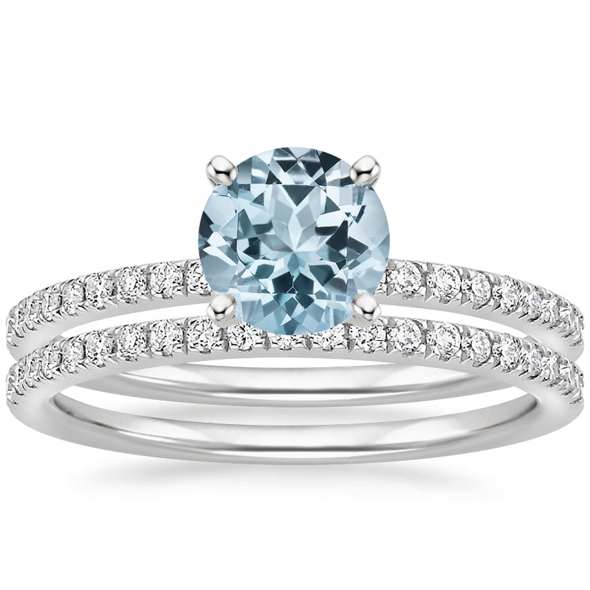 18KW Aquamarine Ballad Diamond Bridal Set (1/3 ct. tw.), top view