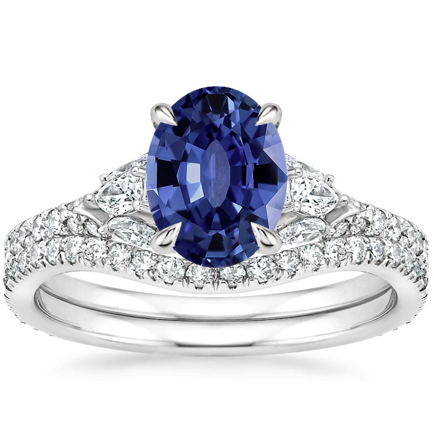 18KW Sapphire Ava Diamond Bridal Set (3/4 ct. tw.), top view