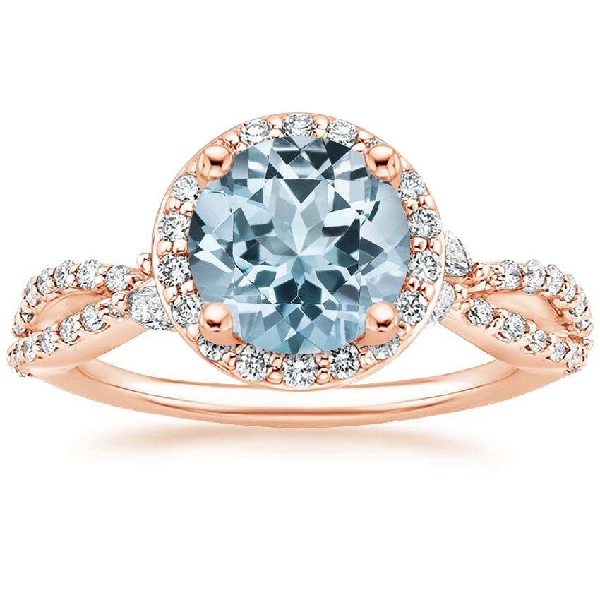 Rose Gold Aquamarine Luxe Willow Halo Diamond Ring (2/5 ct. tw.)