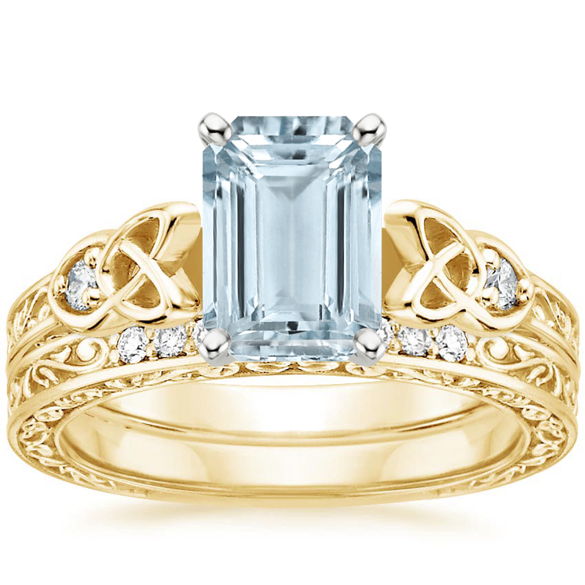 18KY Aquamarine Aberdeen Diamond Bridal Set, top view