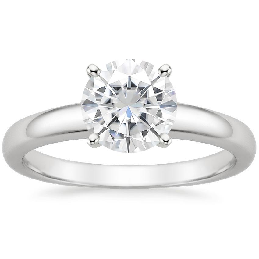 Moissanite 3mm Comfort Fit Ring in 18K White Gold
