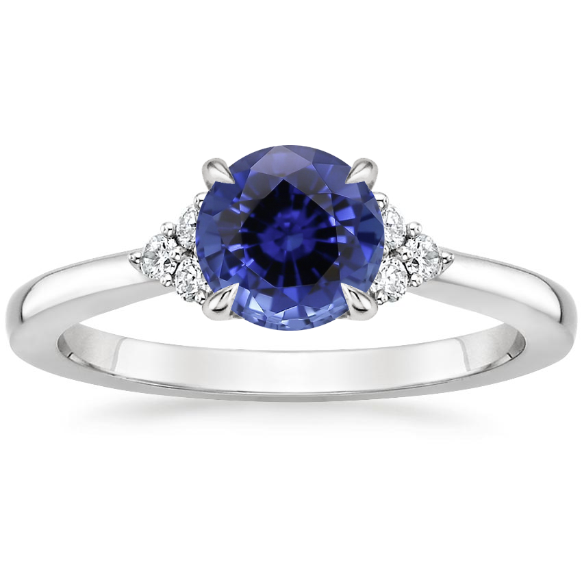 Sapphire Melody Diamond Ring in 18K White Gold