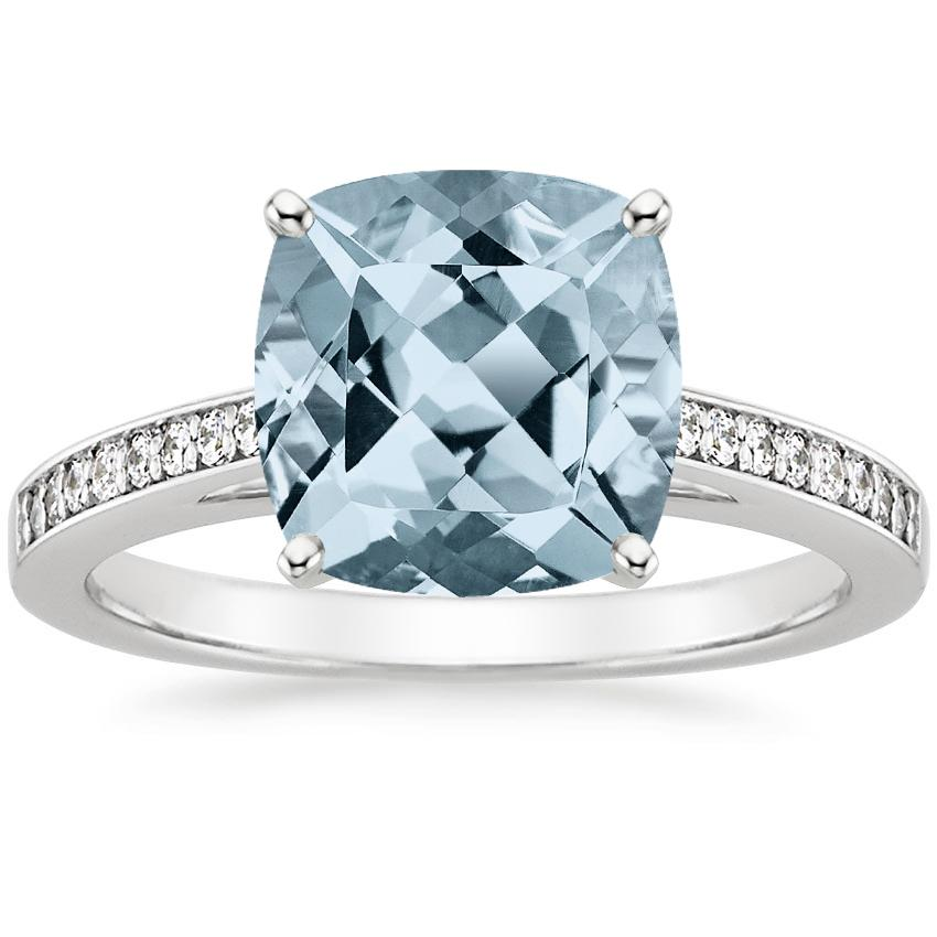 Aquamarine Starlight Diamond Ring in Platinum