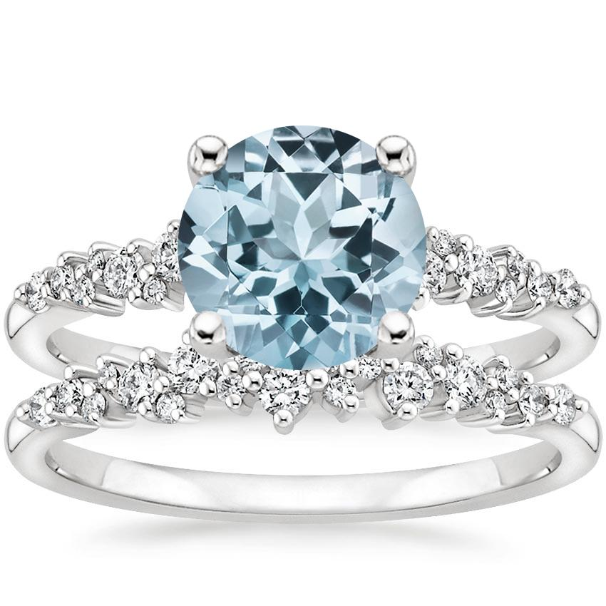 18KW Aquamarine Aurora Diamond Bridal Set (1/3 ct. tw.), top view