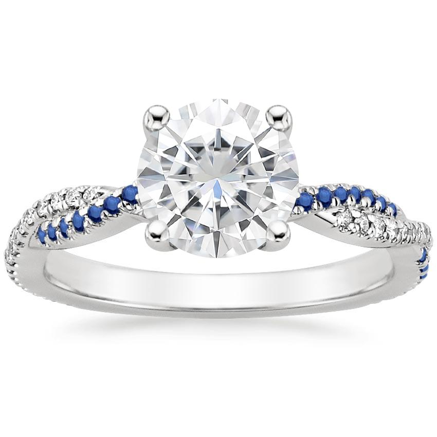 Moissanite Petite Luxe Twisted Vine Sapphire and Diamond Ring (1/8 ct. tw.) in Platinum