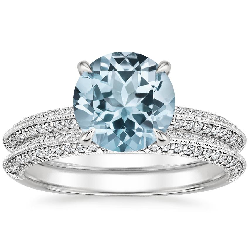 18KW Aquamarine Callista Diamond Bridal Set (1/3 ct. tw.), top view