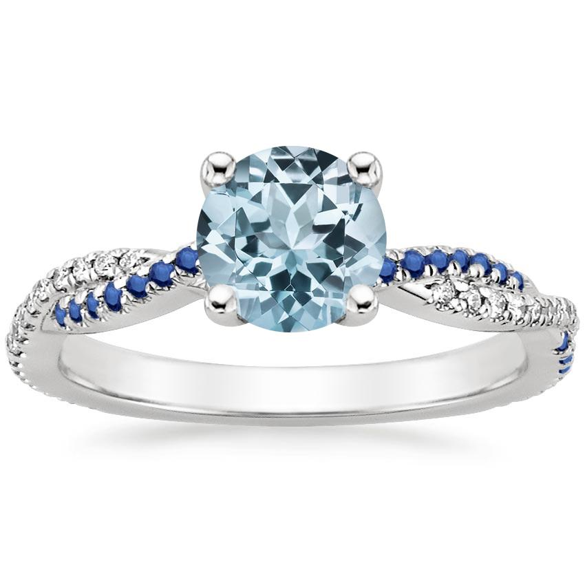 Aquamarine Petite Luxe Twisted Vine Sapphire and Diamond Ring (1/8 ct. tw.) in 18K White Gold