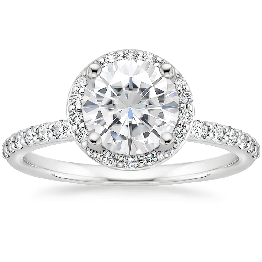 Moissanite Shared Prong Halo Diamond Ring in 18K White Gold