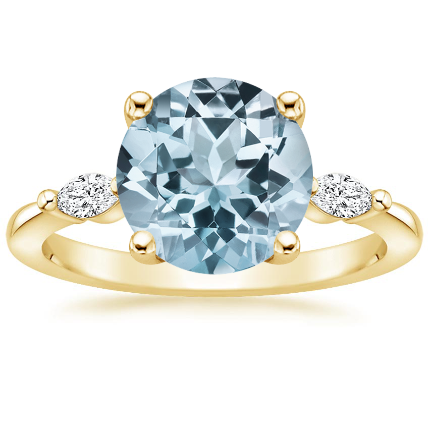 Yellow Gold Aquamarine Gia Diamond Ring