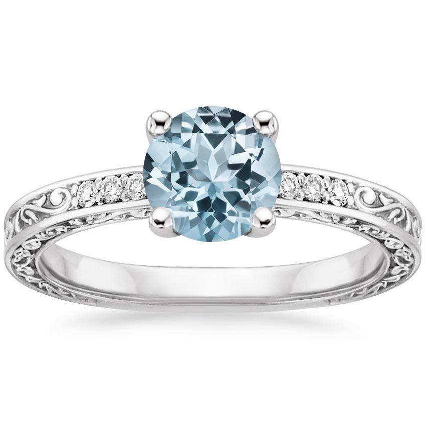Aquamarine Delicate Antique Scroll Diamond Ring in 18K White Gold