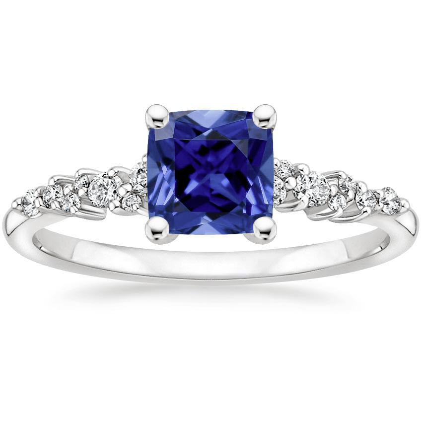 Sapphire Aurora Diamond Ring in 18K White Gold