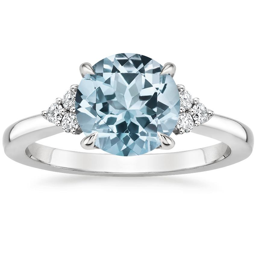 Aquamarine Melody Diamond Ring in 18K White Gold