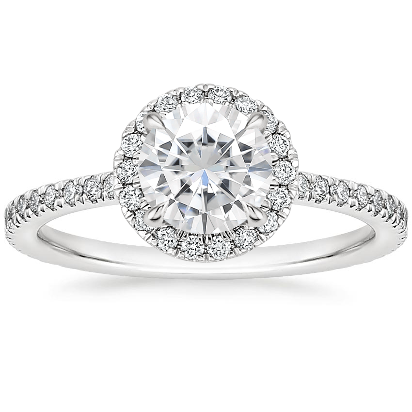 Moissanite Luxe Ballad Halo Diamond Ring (1/3 ct. tw.) in 18K White Gold