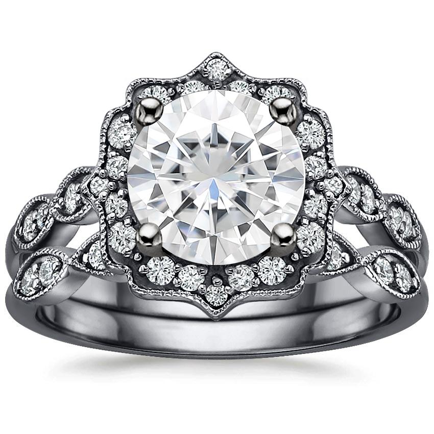 18KW Moissanite Black Rhodium Cadenza Halo Bridal Set (1/4 ct. tw.), top view