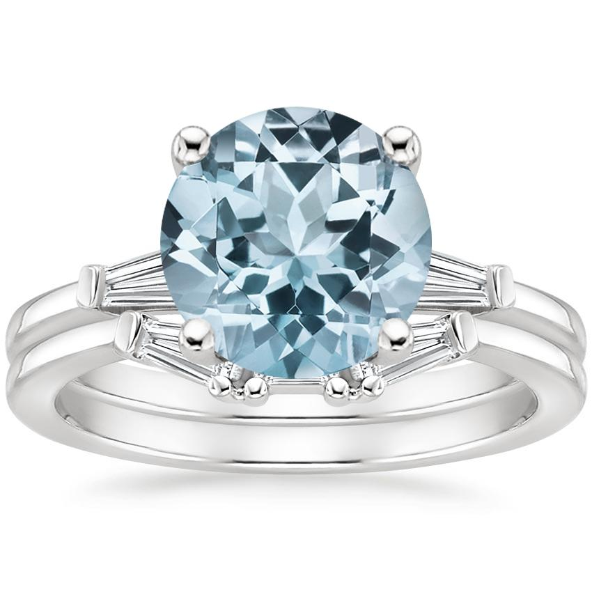 18KW Aquamarine Tapered Baguette Diamond Bridal Set, top view