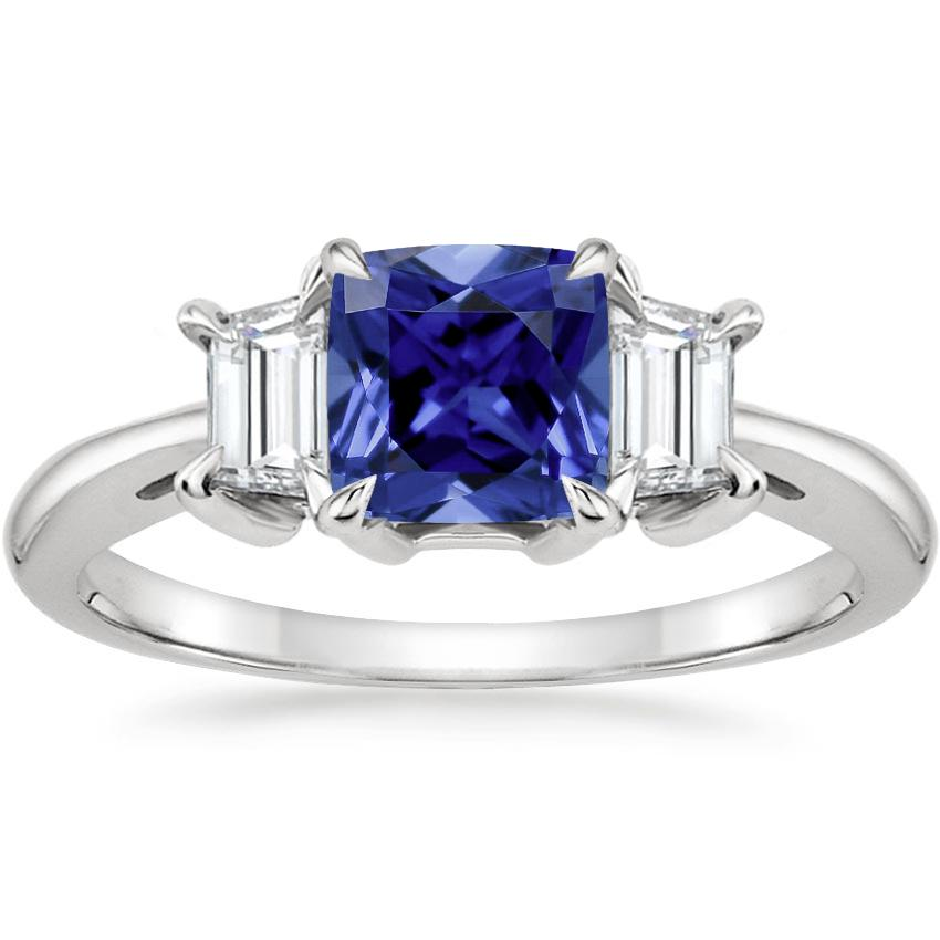 Sapphire Embrace Diamond Ring in 18K White Gold