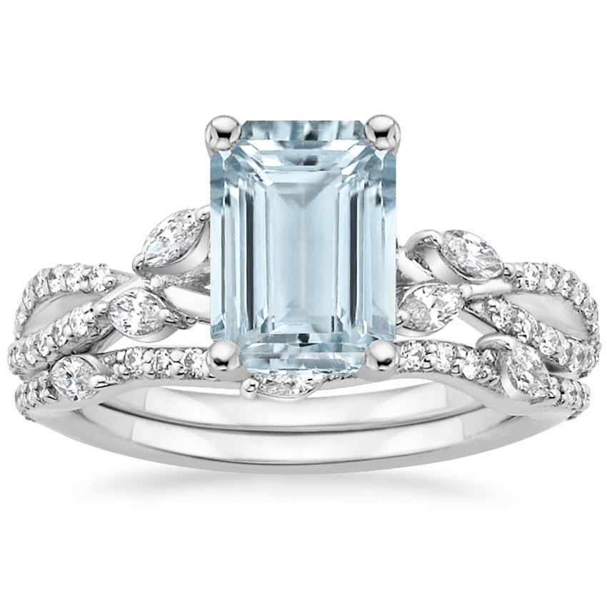 PT Aquamarine Luxe Willow Bridal Set (1/2 ct. tw.), top view