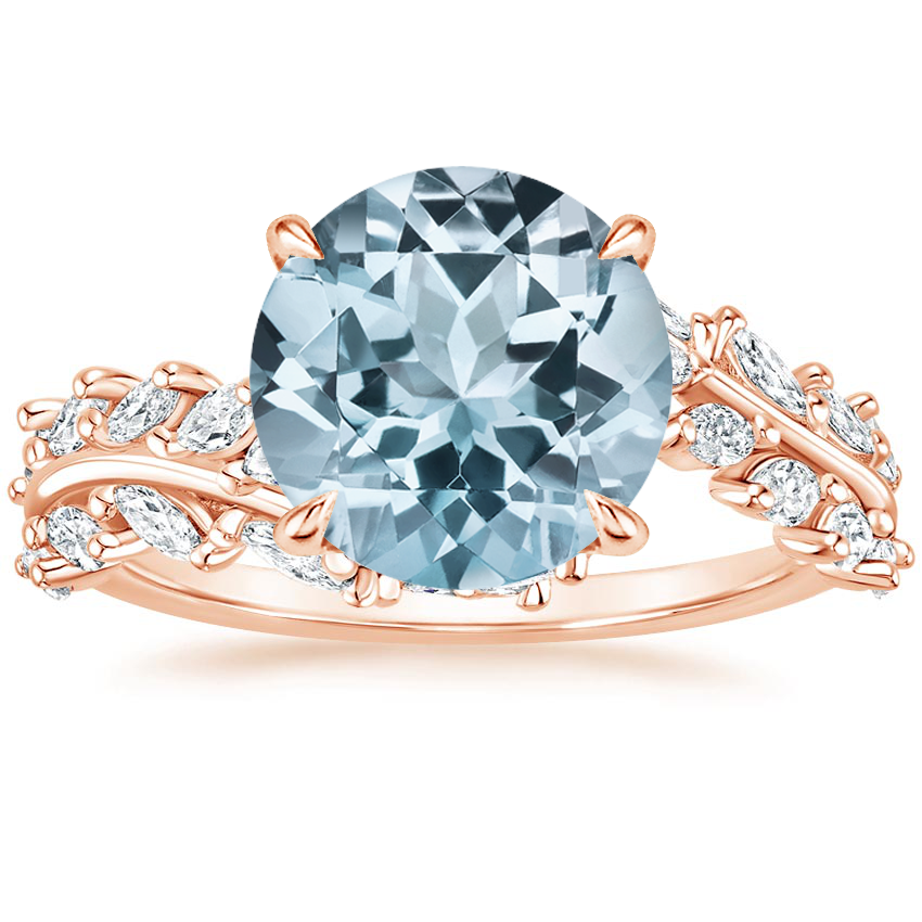 Rose Gold Aquamarine Winding Ivy Diamond Ring (3/4 ct. tw.)