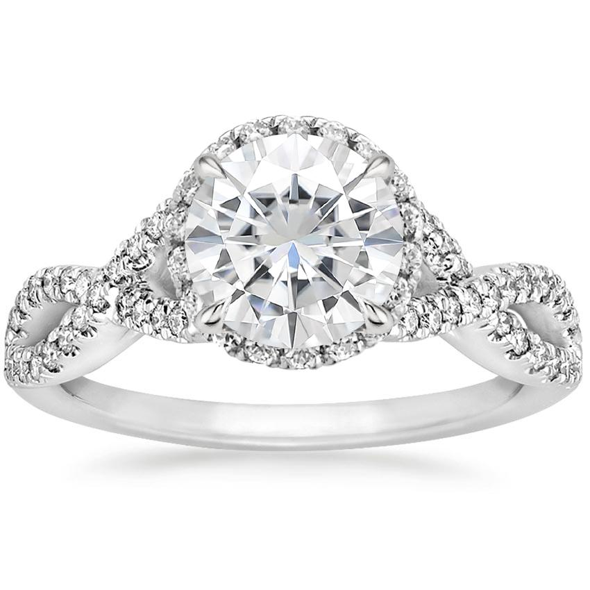 Moissanite Entwined Halo Diamond Ring (1/3 ct. tw.) in 18K White Gold