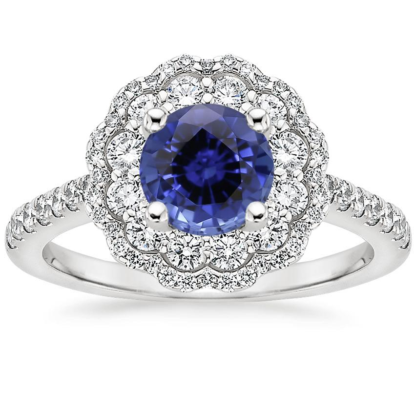 Sapphire Rosa Diamond Ring in 18K White Gold