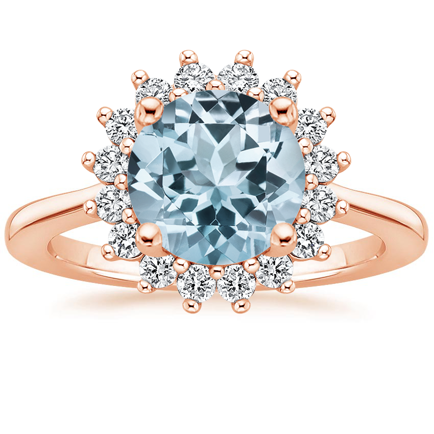Rose Gold Aquamarine Sunburst Diamond Ring (1/4 ct. tw.)