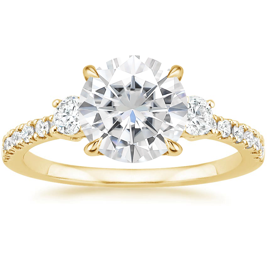Yellow Gold Moissanite Radiance Diamond Ring (1/3 ct. tw.)