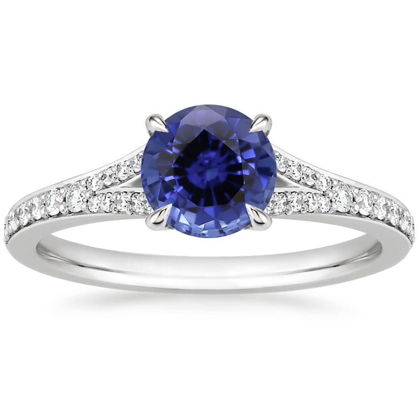 Sapphire Duet Diamond Ring in Platinum