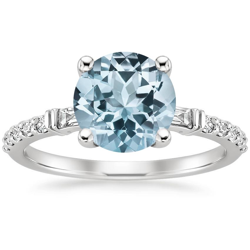 Aquamarine Regency Diamond Ring (1/4 ct. tw.) in 18K White Gold