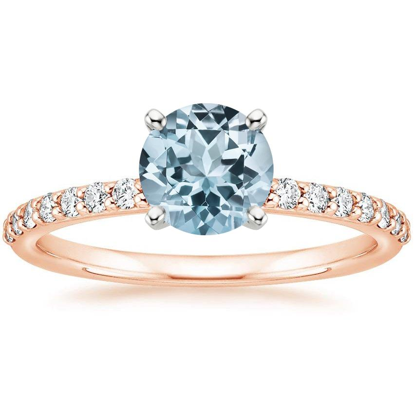 Rose Gold Aquamarine Petite Shared Prong Diamond Ring (1/4 ct. tw.)
